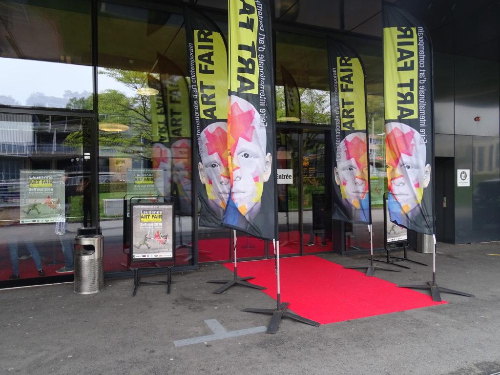 Entrée du Lausanne ART FAIR qui a eu lieu du 2 au 5 mai 2019 au centre des congrès de Baulieu où la galerie BELAIR FINEART a exposé entre autres des oeuvres de PIMAX