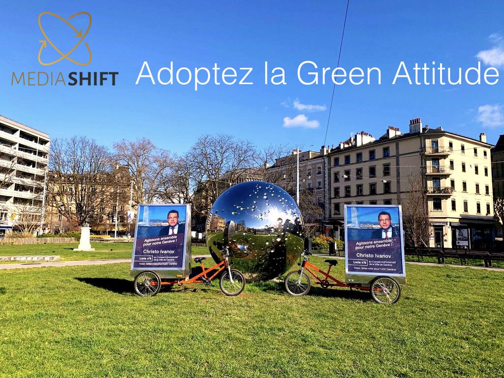 Les vélos électriques publicitaires MediaShift roulent pour la campagne du candidat Christo Ivanov