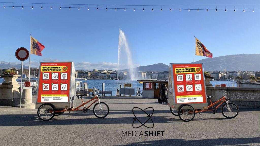 vélo électrique publicitaire Mediashift environnement covid-19 genève