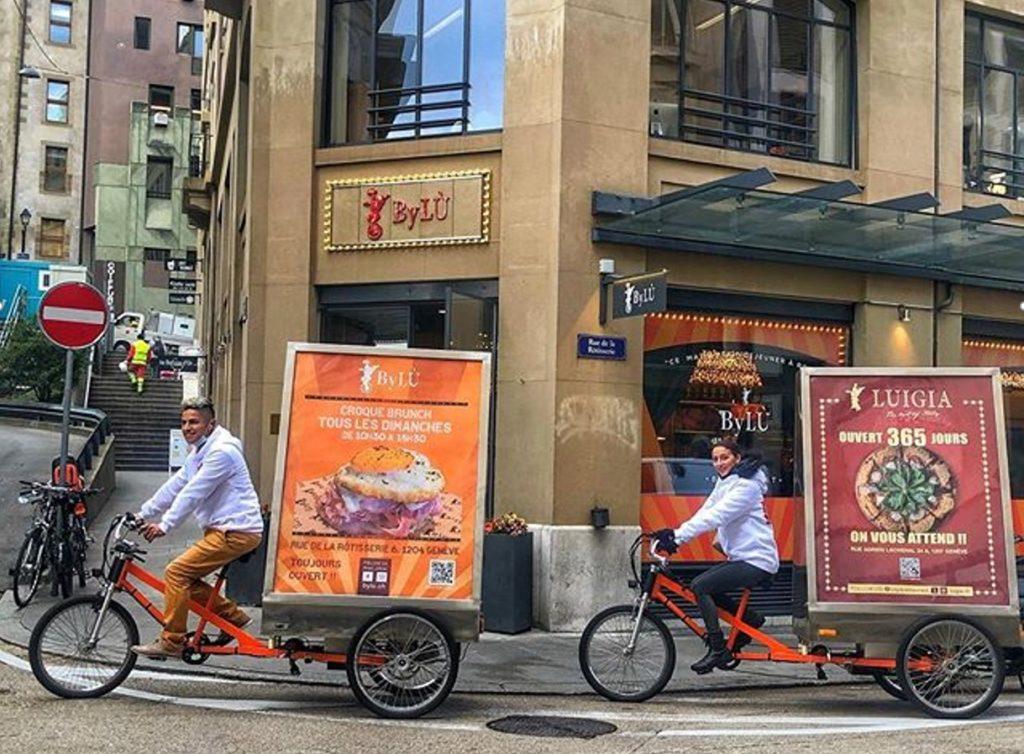 """Quand on parle de restaurant, """"Luigia"""" est un nom connu à Genève. """"ByLÙ"""" un peu moins. Entre le 9 et le 15 octobre 2020, notre client était la société Capomondo SA qui nous a mandaté pour une campagne en vélos électriques pour deux de ses restaurants Genevois : La « Luigia » et le « ByLÙ »"""