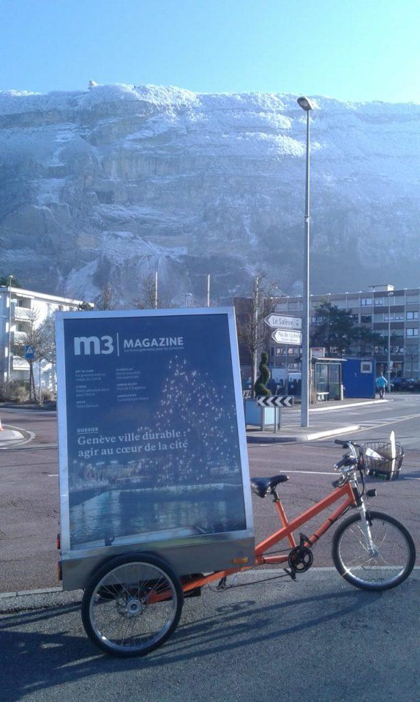 vélo publicitaire vélopub mediashift m3 restaurants m3 magazine streetmarketing livraison communication proximité