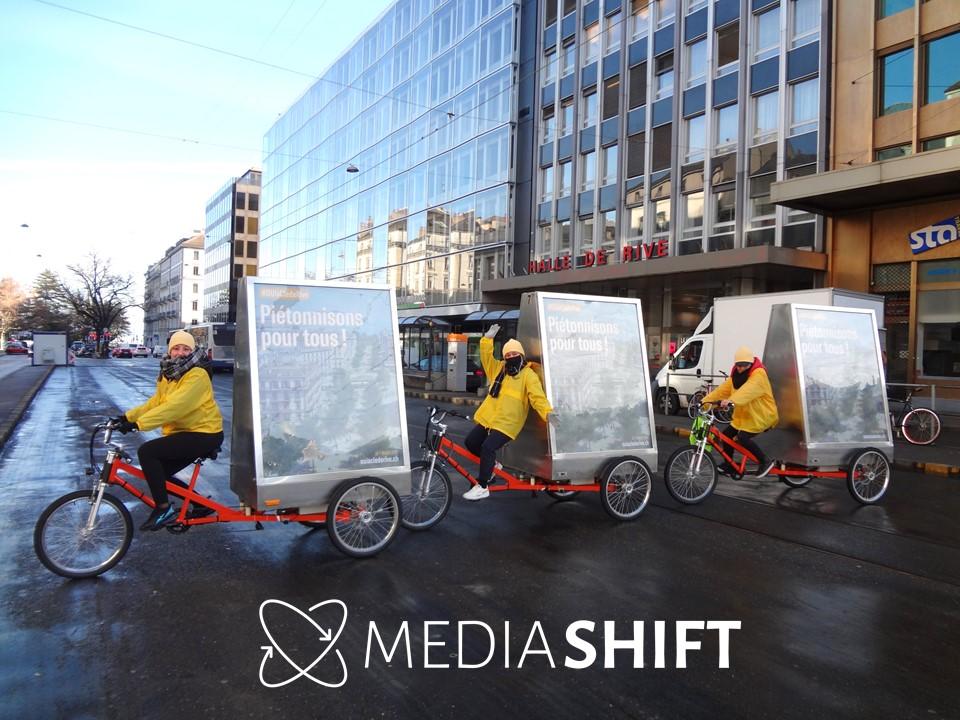 Campagne de street-marketing MediaShift pour la votation du projet Clé de Rive à Genève. Vélos publicitaires électriques