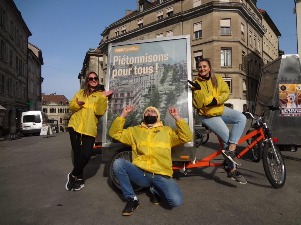 Campagne de street-marketing MediaShift pour la votation du projet Clé de Rive à Genève